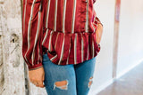 Burgundy Striped Peplum Top