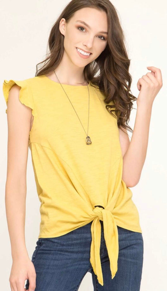 Mustard Ruffle Sleeve Front Knot Top
