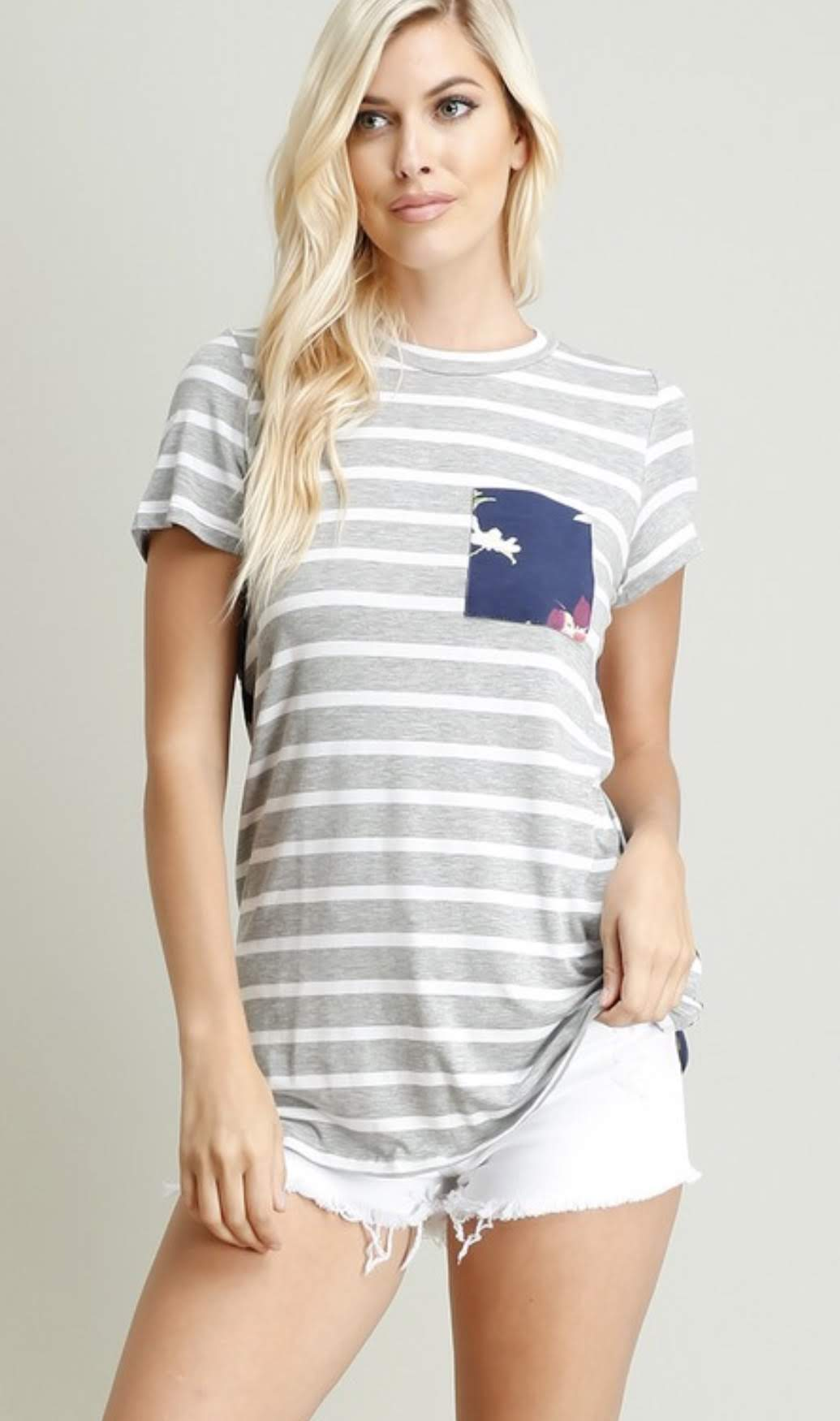 Striped & Floral Pocket Tee