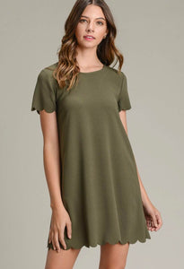 Olive Scalloped Dress