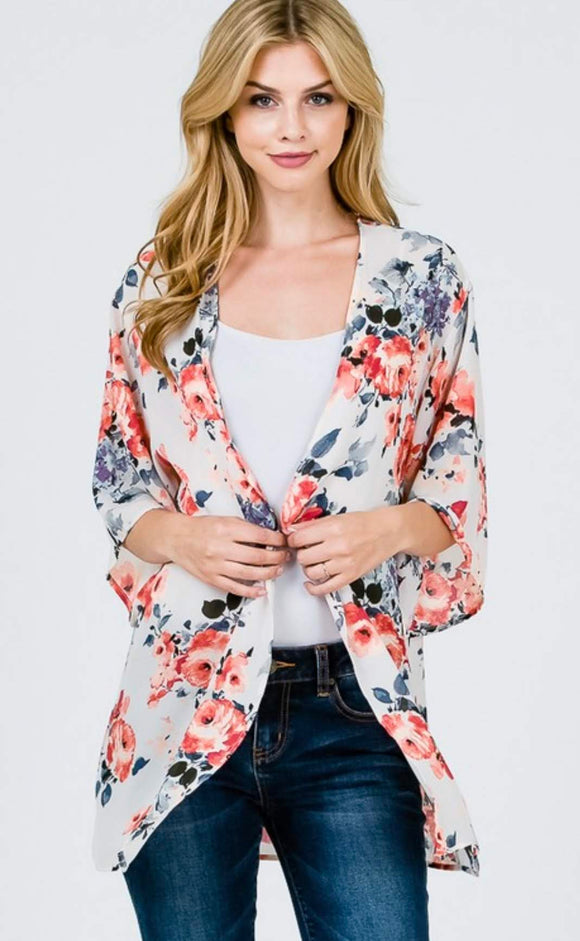 Coral and Navy Floral Kimono