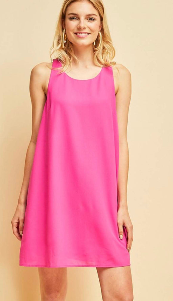 Fuchsia A-Line Dress with Ruffle Back