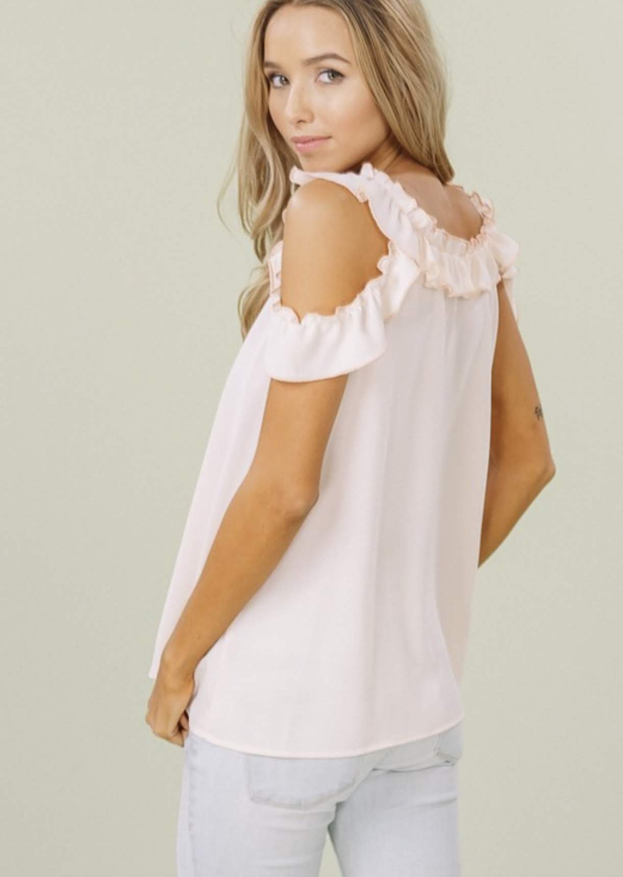 Blush Top with Cold Shoulder and Ruffle