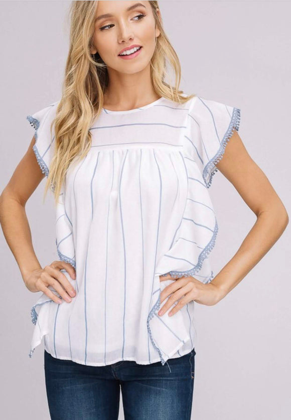 White and Blue Striped Ruffle Blouse