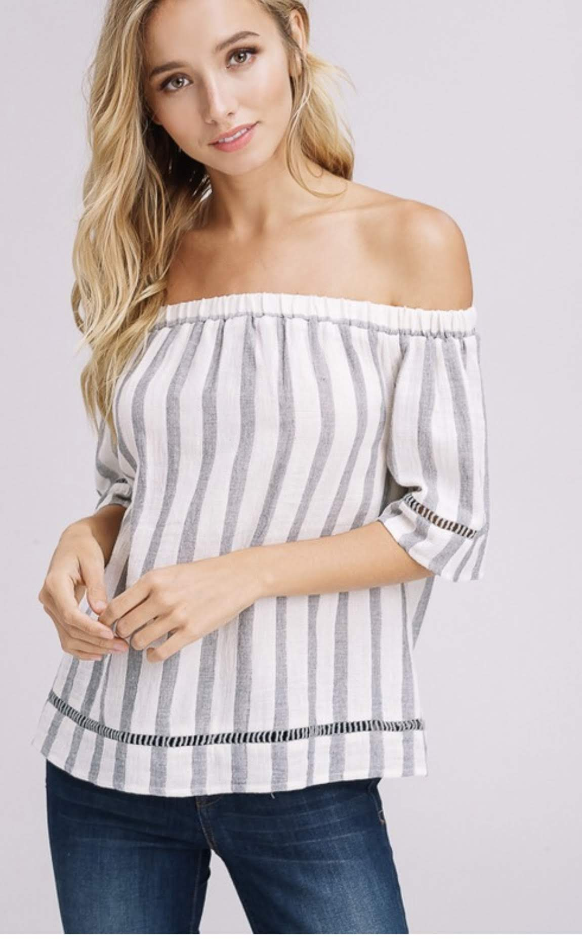 Off Shoulder White and Grey Vertical Striped Top