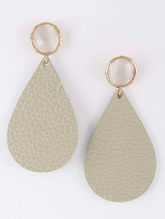 Cream Leather Teardrop Earrings with Circle Jewel