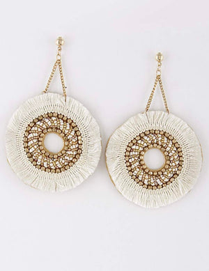 Large Circle Tassel Beaded Earrings
