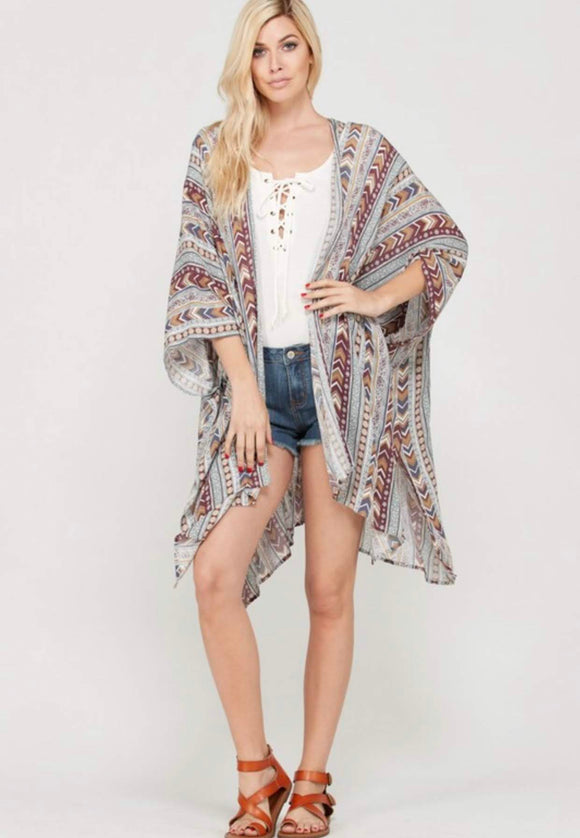 Red, Gold, and Grey Chevron and Striped Kimono