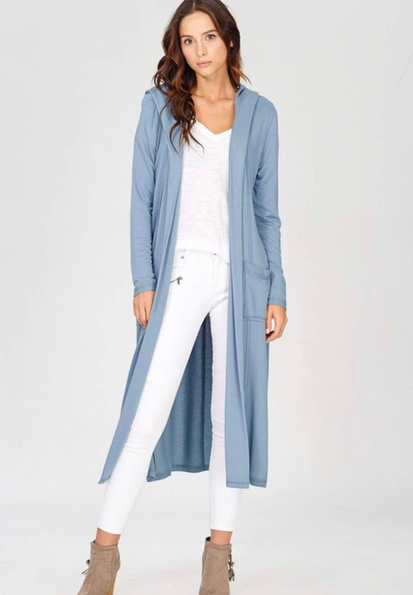 Blue Long Sleeve Kimono with Pockets and Hood