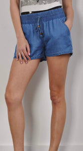 Dark Blue Elastic Waist Shorts with Tie