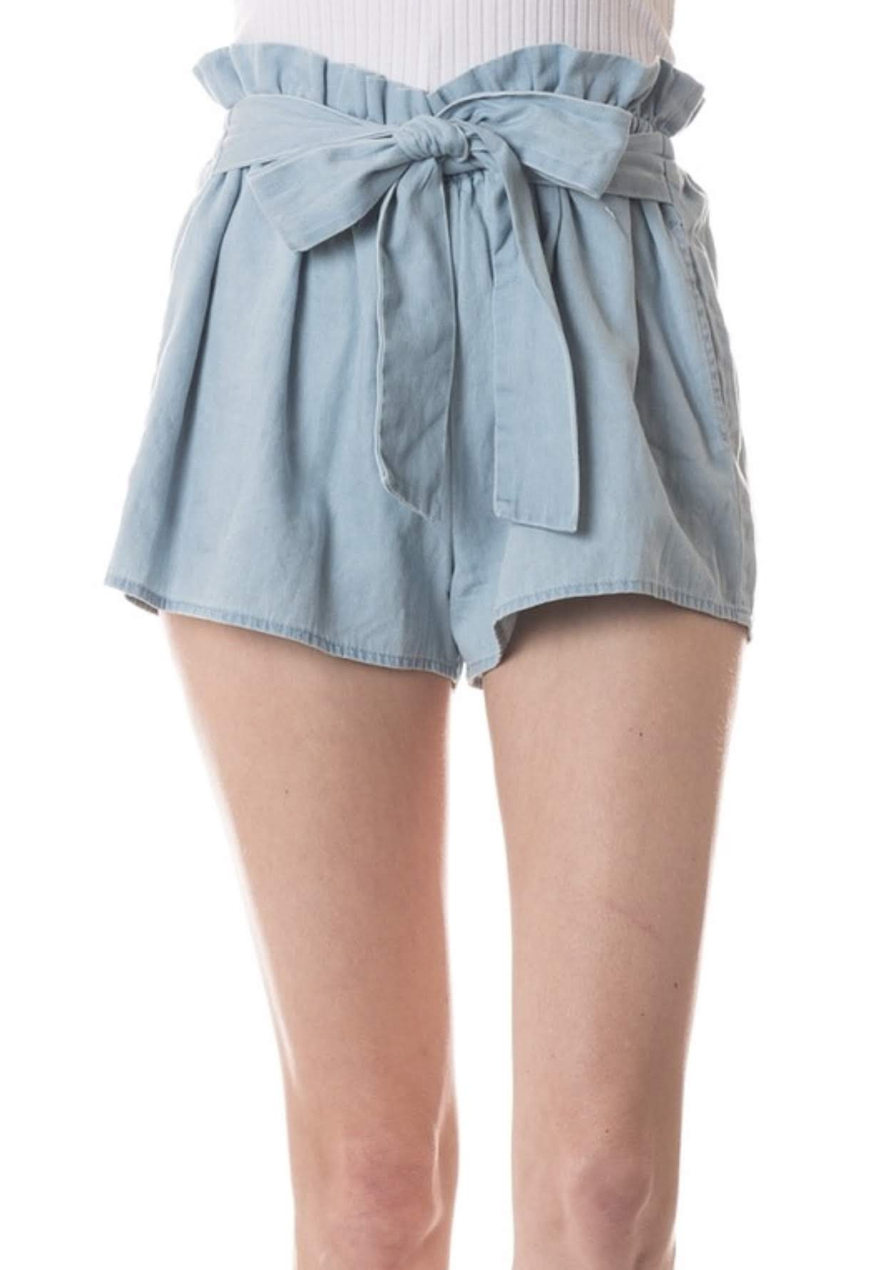 Light Blue Shorts with Waist Ruffle and Bow