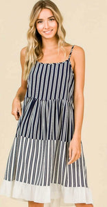 Navy and White Stripe Tiered Dress