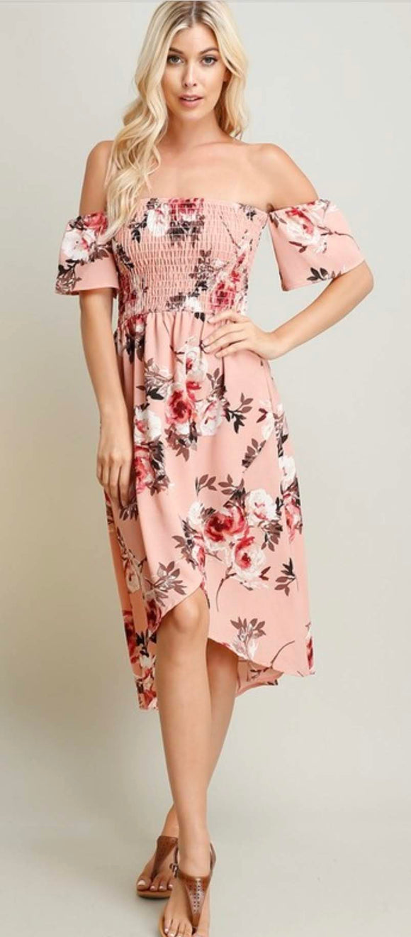 Off-Shoulder Blush Floral Dress
