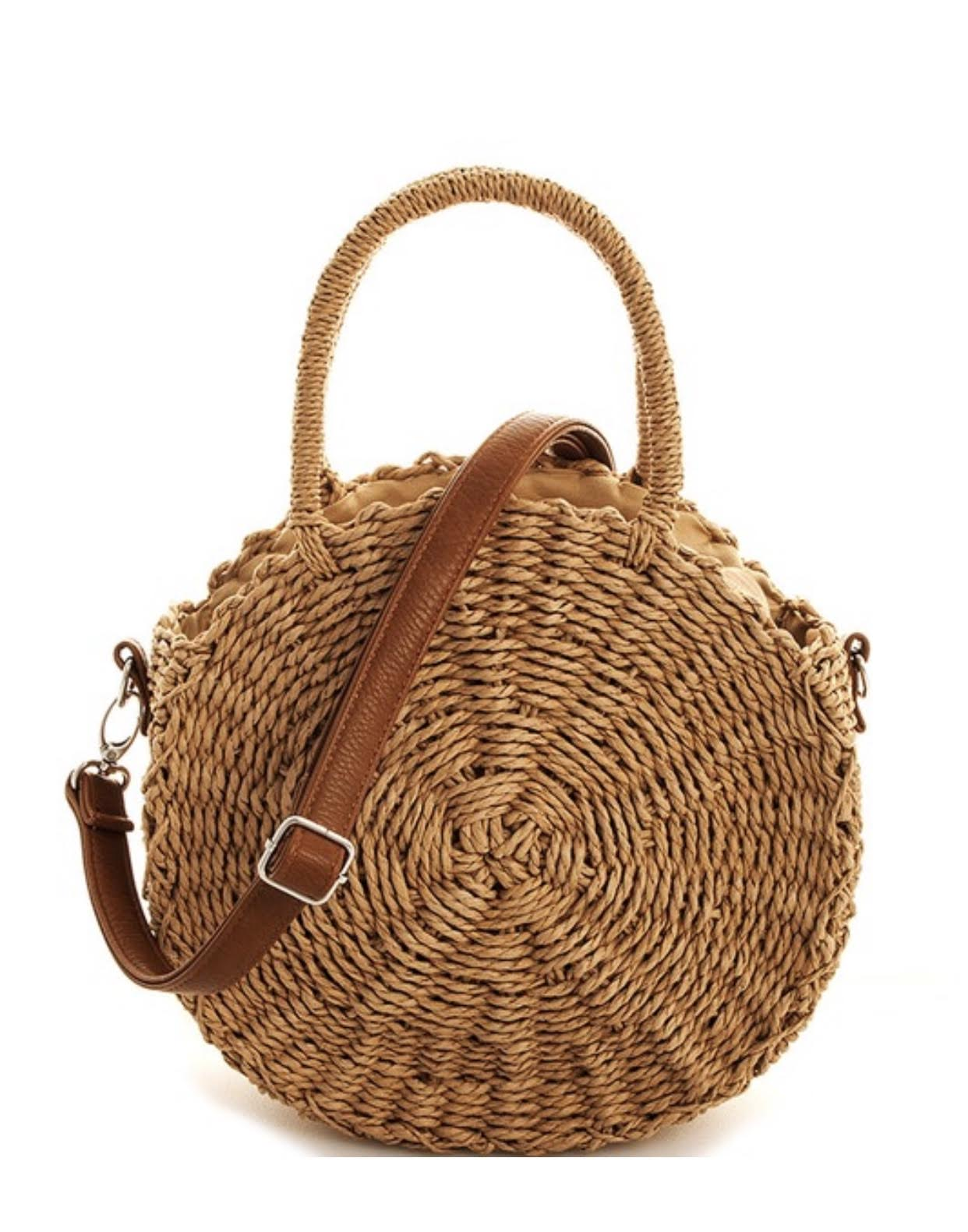 Woven Wicker Circle Purse with Handle and Strap