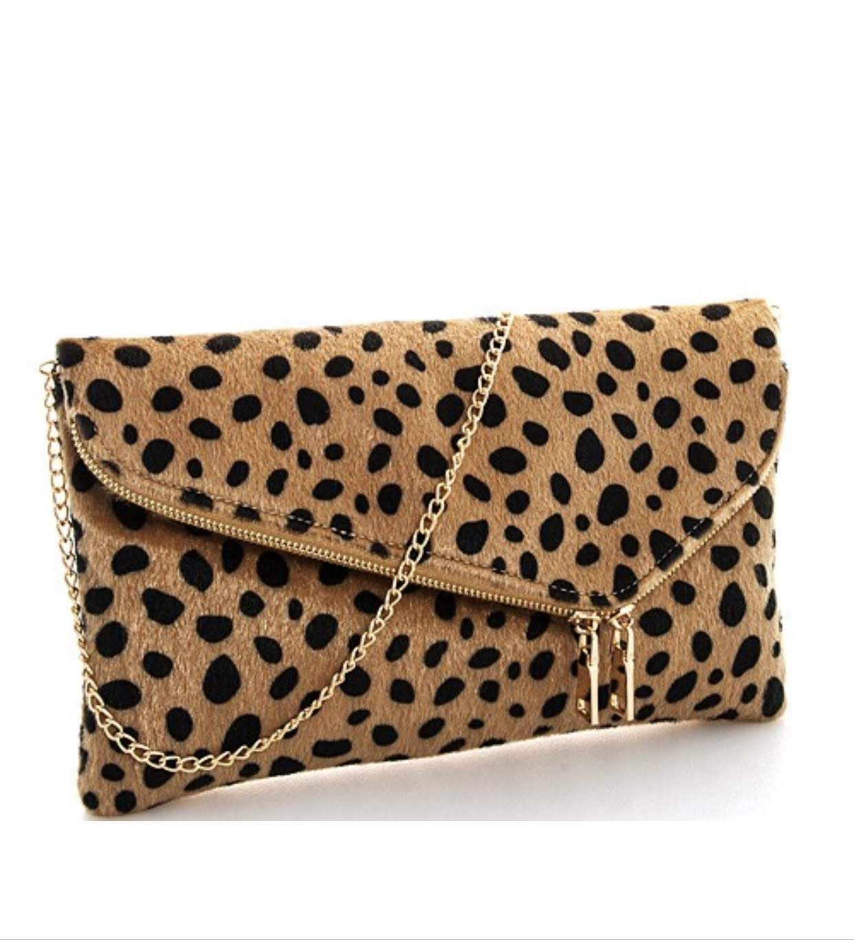 Leopard Print Clutch with Gold Chain Strap