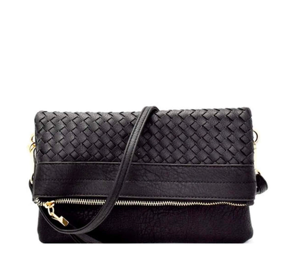 Black Woven Clutch with Strap