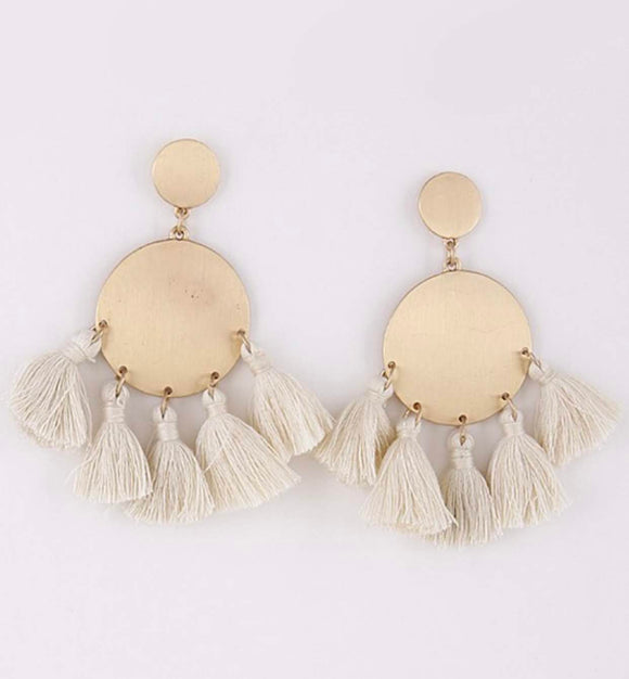 Gold Double Circle Earrings with Cream Tassels