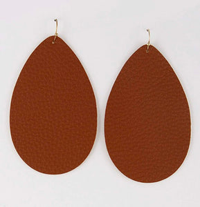 Large Leather Teardrop Earrings