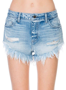 Distressed Denim Shorts with Frayed Edges