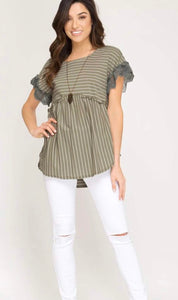 Olive and Cream Striped Short Sleeved Top with Lace Accent
