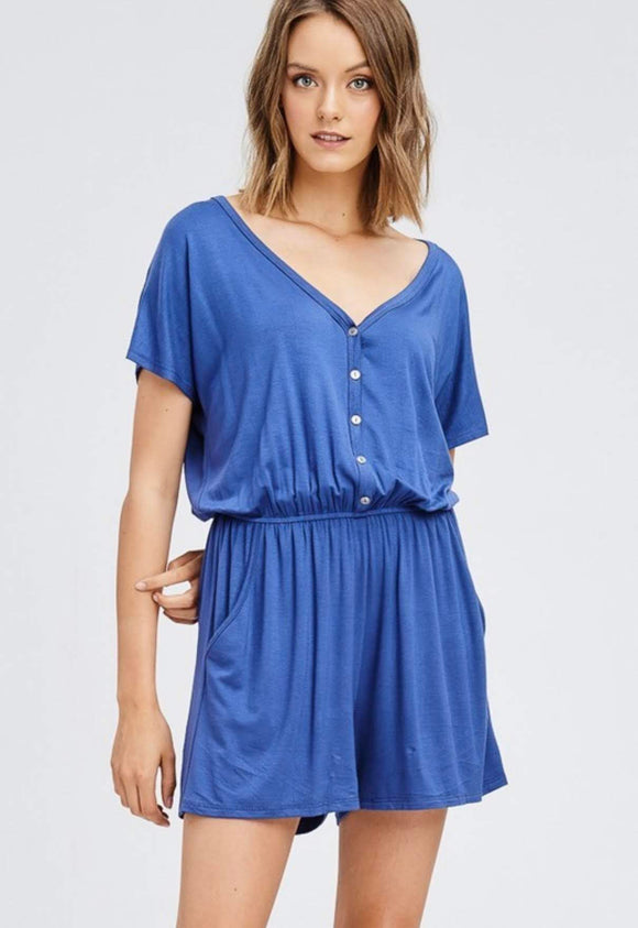 Slate Blue Button Down Romper w/ V-Neck and Pockets