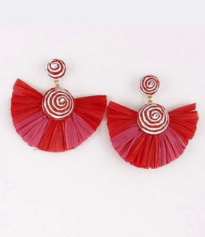 Double Circle Earrings with Full Tassels