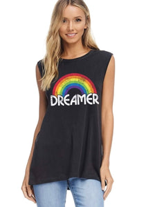 Black Dreamer Graphic Tank with Rainbow