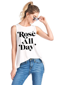 White Rose All Day Graphic Tank