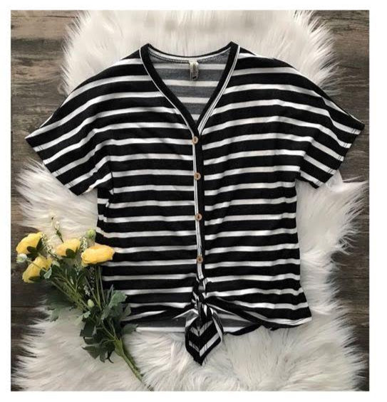 Black and White Striped T-Shirt with Button Accents and Tie