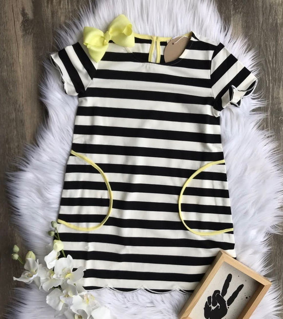 Black and White Striped T-Shirt Dress with Pockets and Yellow Accents