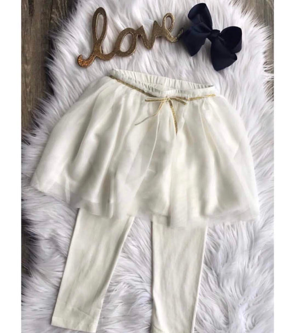 White Leggings with Attached Tulle Skirt
