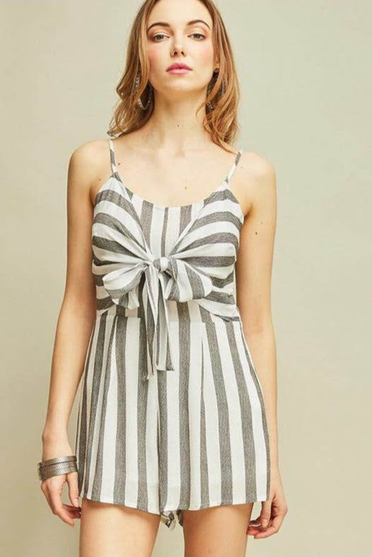 Grey and White Striped Romper with Bow Detail