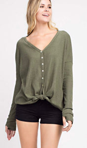 Army Green Long Sleeved Waffleknit Top with Button Detail