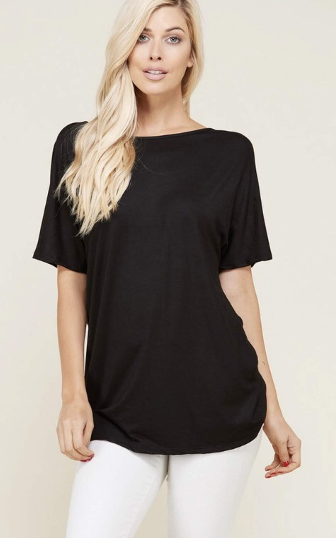 Black Short Sleeved Jersey Top with Knot Back
