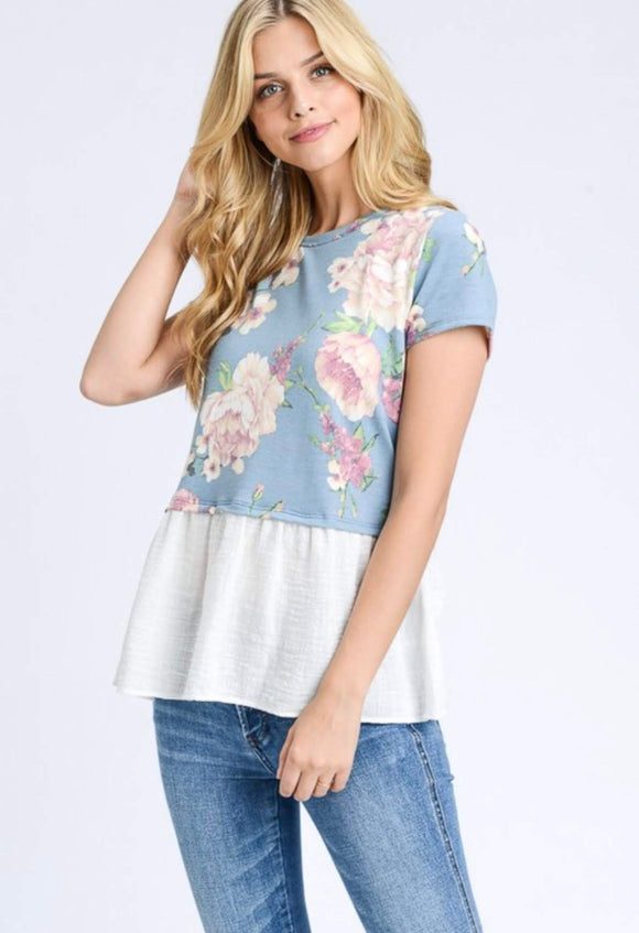 Denim Blue Floral Top with Peplum Detail