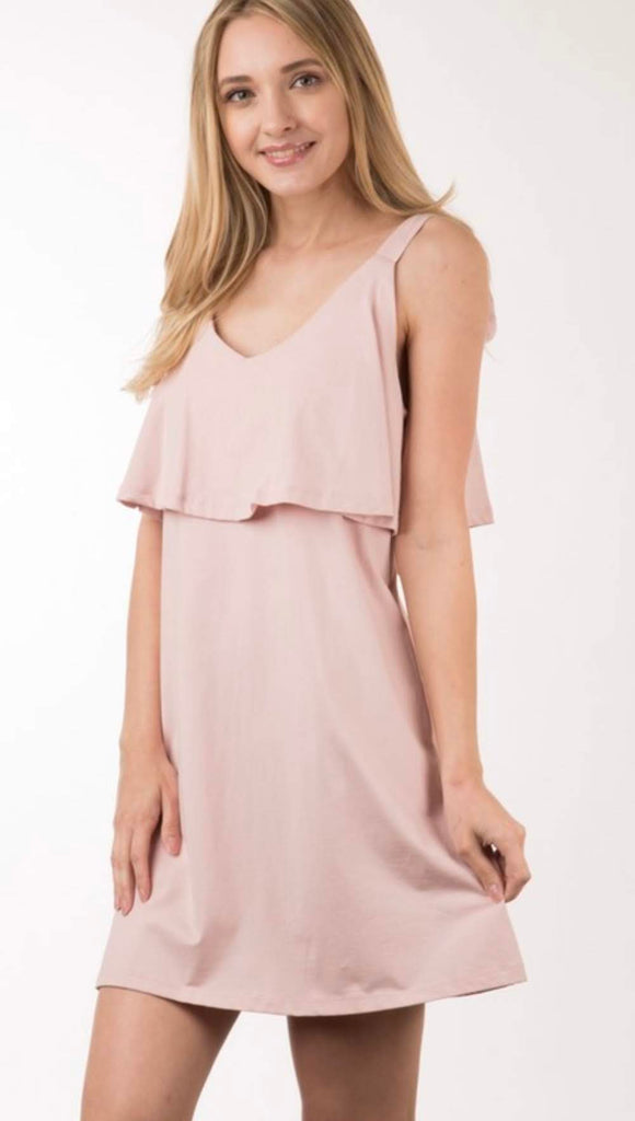 Blush A-Line Dress with Ruffle Top and Ties on Shoulder