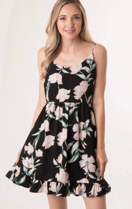 Black Floral Dress with Ruffle Hem