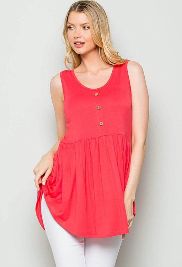 Raspberry Tank with Peplum and Button Detail