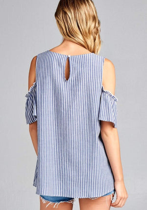 Chambray Striped Cold Shoulder with Ruffle Detail
