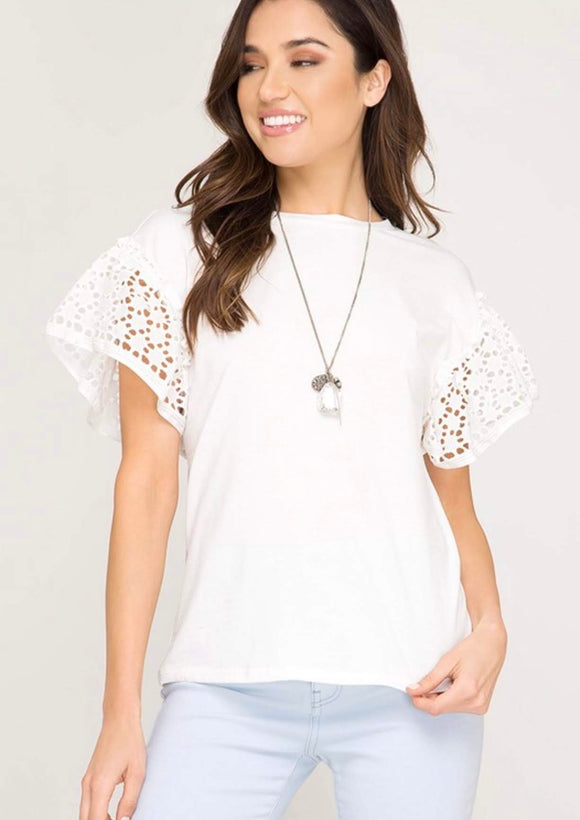 White Eyelet Shoulder Top