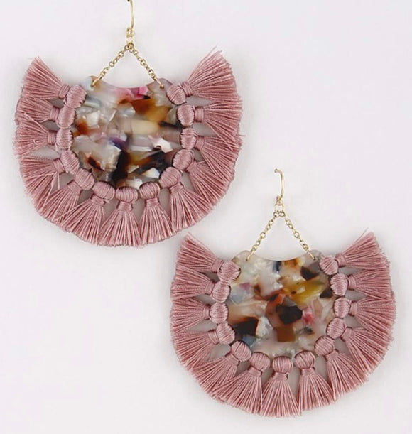 Tassel Earrings with Multi-Color Center