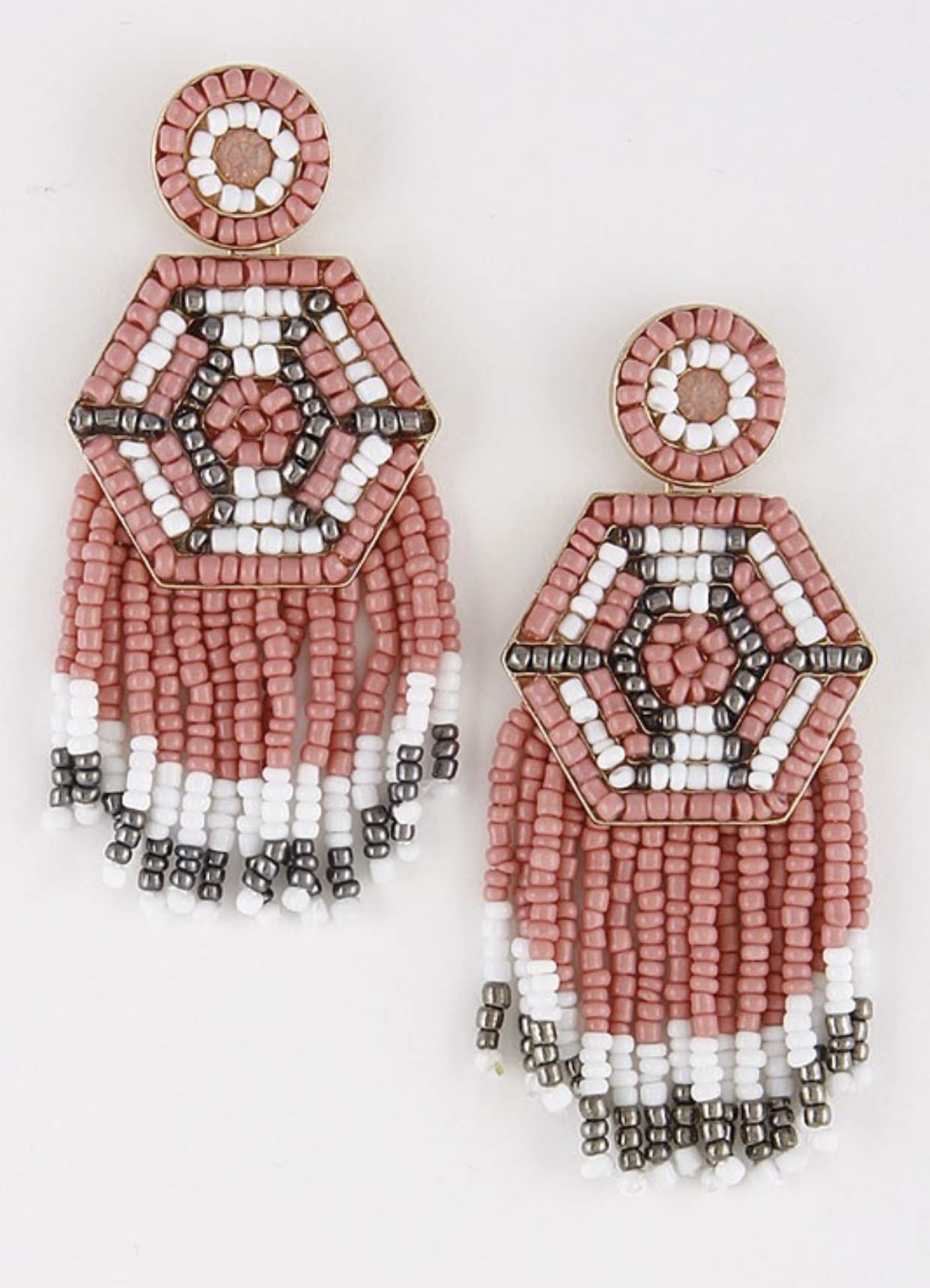 Beaded Aztec Earrings