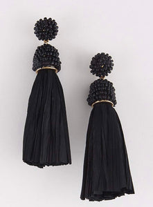 Black Tassel Earrings with Beaded Accents