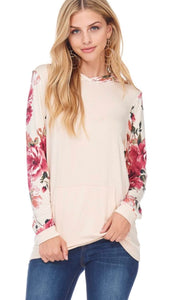 Taupe Hoodie with Pink Floral Sleeves