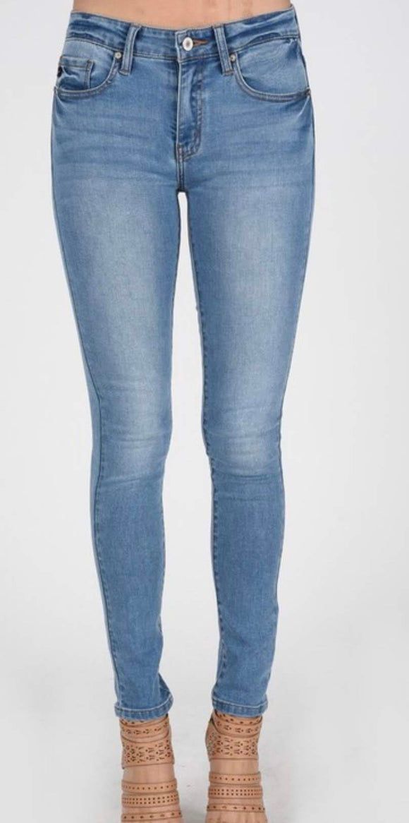 High-Waisted Light Wash Jeans