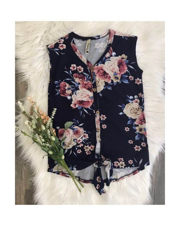 Navy Floral Wide Tank with Front Knot and Button Details