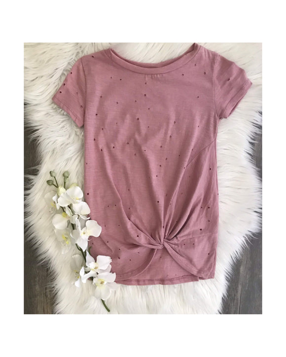 Distressed Blush T-Shirt with Front Knot