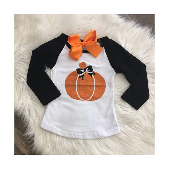 Long Sleeved Pumpkin Baseball Tee