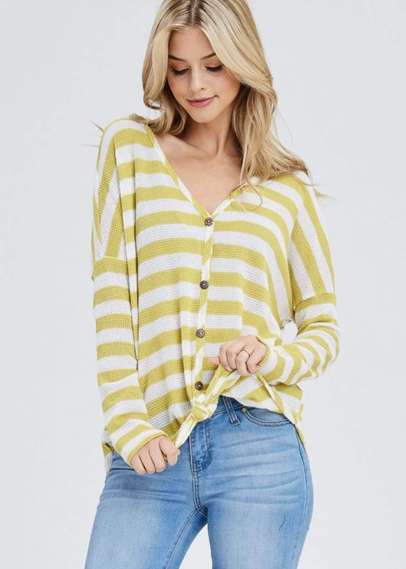Honey Striped Front Knot Top