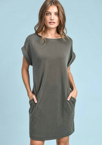 Rolled Sleeve Olive Pocket Dress